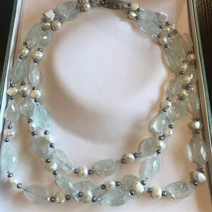 Jewelry - Silver White Green 3 Strand BeadedPearl Necklace